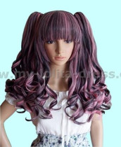 Black Pink Shoulder Long Curly Wig