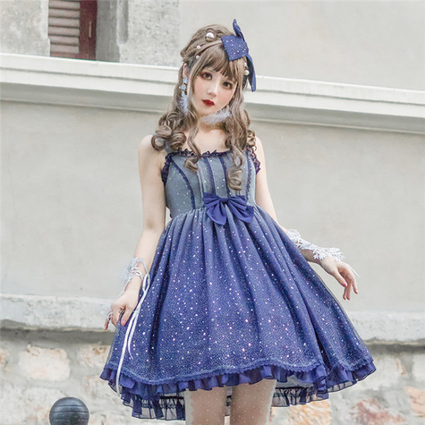 Starry Sky ~Gold-stamping Lolita Jumper -Ready Made