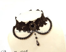 Evil Flower Black Lace and Beads Lolita Choker