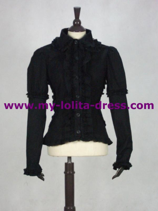 Long Sleeves Cotton Girls Shirt Ruffles off