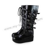 Gothic Punk Black Belts Lolita High Shaft Boots