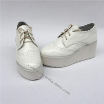 Sweet Glossy White Lolita High Platform Shoes