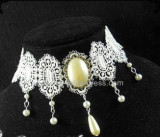 White Lace Beads Romantic Bridal Lolita Choker