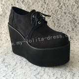 Gothic Black Velvet Lolita High Platform
