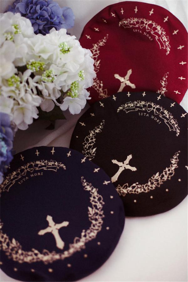 Ista Mori  Embroidery Lolita Beret -Pre-order White Version I - In Stock
