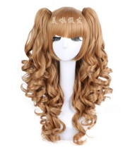 Golden Cake Roll Shaped Lolita Mid-length Wig With Sweet Two Ponytails