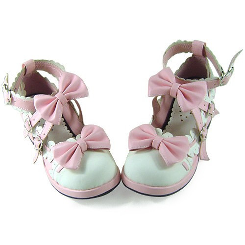 White Pink Bows Lolita Shoes