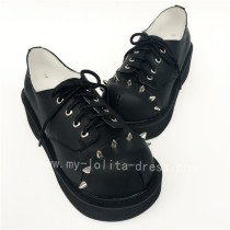 High Platform Black Real Leather Rivets Punk Lolita Shoes