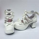 Sweet White Glossy Bows Straps Lolita Shoes