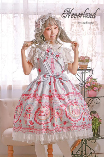 Strawberry Bunny~ Lolita High Waist JSK Dress