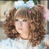 Girl's Dancing Party Short Curls Lolita Wig with Two Ponytails