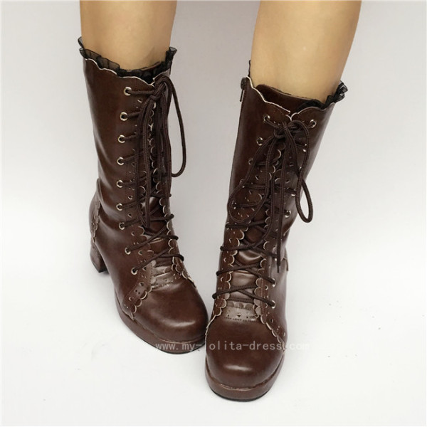 Sweet Coffee Lolita Mid-calf Boots