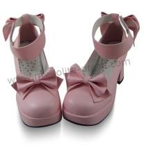 Pink Bows Wide Strap Lolita Shoes
