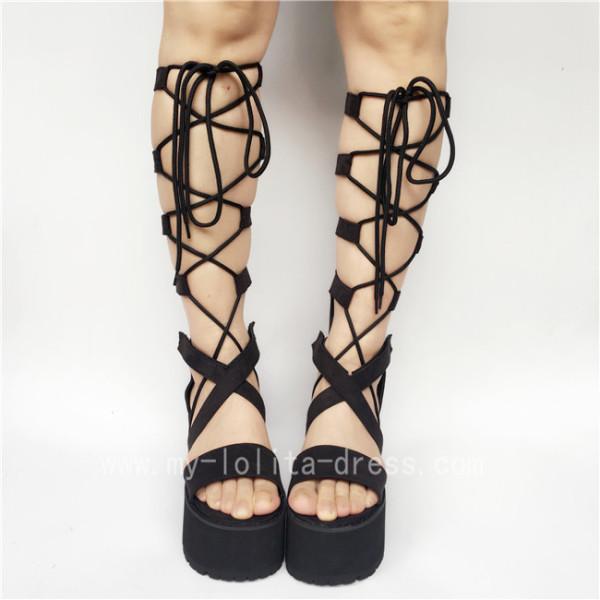 Unique High Platform Black Velvet Lace-up Lolita Sandals