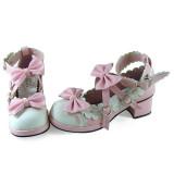 White Pink Bows Lolita Shoes