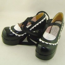 Black White Lolita Belt Shoes