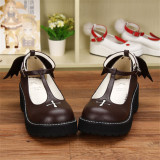 Angelic Imprint- Sweet T-shaped Straps Lolita High Platform Shoes with Detachable Angel Wings