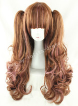 Sweet Brown Pink Curls Lolita Wig