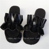 Beautiful Black Real Leather Lolita Sandals