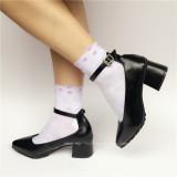 Black Matte Sharp Front Lolita Heels Shoes