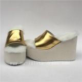 Gothic Black High Platform Lolita Sandals - Normal and Fuzzy 2 Versions