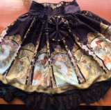 Neverland Lolita ***Mucha*** Printed High Waist Lolita Skirt Black Size M - In Stock