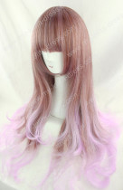 Harajuku Cream Brown Violet Blended Lolita Wig 75cm