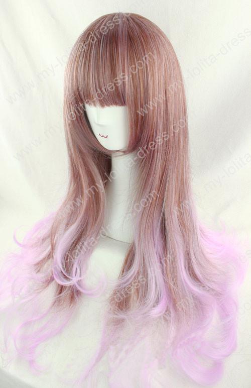Harajuku Cream Brown Violet Blended Lolita Wig 75cm
