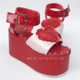 Sweet Red Heart with Pearl Pink Lolita Sandals