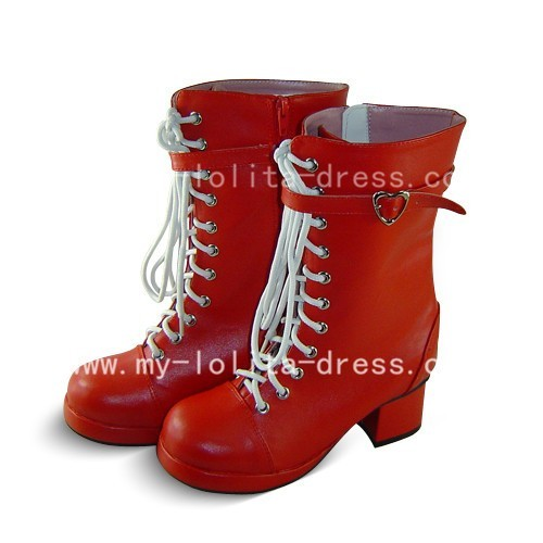 Beautiful Red Square Heel Lace Boots