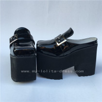 Glossy Black Lolita Flat Shoes