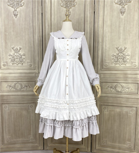 Little Dipper ~Pure Cotton Jacquard Lolita Apron -Ready Made