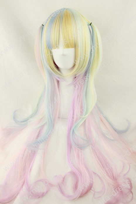 Harajuku Icecream 5 Colors Rainbow 80CM Lolita Wig