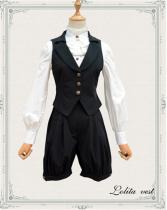 Black Vingtage Chiffon Ouji Lolita Vest + Short Pants - In Stock