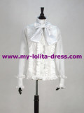 White Cotton Bowtie Lolita Shirt off