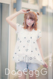 DogEggG -Twinkle Star- Sweet Stars Embroidery Short Sleeves Blouse T-shirt