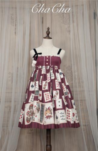 Poker Cat~ Classic Lolita JSK Normal Waist/High Waist -Ready Made