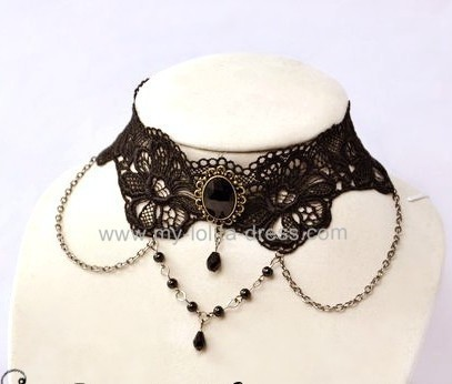 Flowers Theme Black Lace Lolita Goth Choker