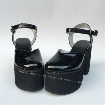 Elegant Glossy Black Lolita High Platform Shoes
