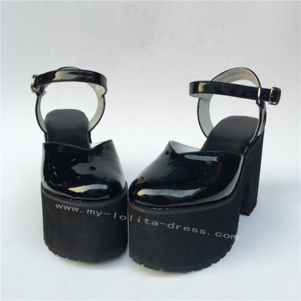 Elegant Glossy Black Lolita High Platform Shoes