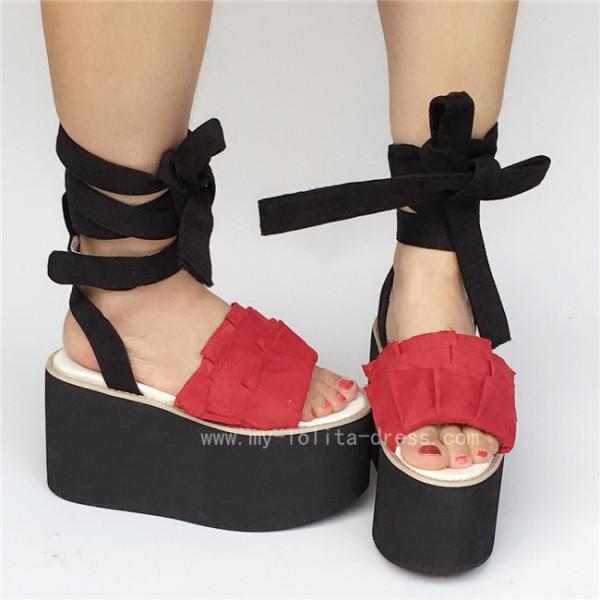 Unique Red with Black Velvet Lolita Sandals