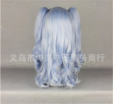 Beautiful Light Blue Lolita Long Curls Wig with Two Ponytails