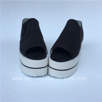 Black Velvet Open Toes Double Colors Soles Lolita Shoes
