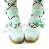 Mint White Bows Fairytale Shoes