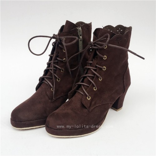 Coffee Velvet Lolita Boots for Woman