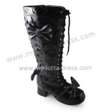 Hearts and Bows Lace Up Knee High Lolita Boots