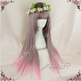 Light Brown Pink Straight Lolita Wig 70cm long