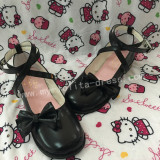 White Shiny Low Heels Lolita Shoes