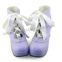 Purple Platform Lolita Shoes White Bow  -Clearance