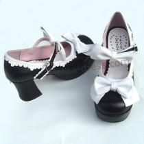 Black White Two Bows Lolita Shoes